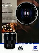 Prospekt Datenblatt Zeiss Kamera Objektiv Distagon T 1,4/35 2010 brochure lens
