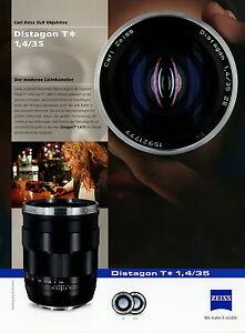 Zeiss Prospekt Datenblatt  Kamera Objektiv Distagon T 1,4/35 2010 brochure