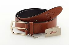 New BRIONI Genuine Leather Men's Belt Brown Handmade in Italy Size 44 / 115 (XL)