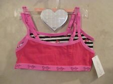 2 New JESSICA SIMPSON Pink White Red Size M 8-10 Pullover Crop Top Training Bras
