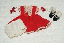 "Original Vintage 13"" Nancy Arranbee R&B Composition Doll Red Dress Outfit Clothe"