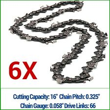 "6 x CHAINSAW CHAIN FITS 16"" BAR HUSQVARNA JONSERED 66 325 058 SEMI CHISEL"