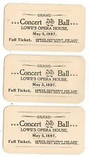 GRAND LOWE's OPERA HOUSE. CONCERT & BALL. May 5, 1897. FULL TICKET. (BI#BX29)