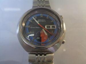 Seiko Chronograph Mens Watch Day & Date Auto 6139-8010 Black Dial