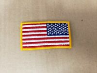 US American Flag Reverse Shoulder Patch yellow Border. MADE IN THE USA 3.25 X 2