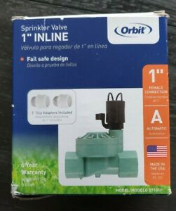 "Orbit 1"" Inline Sprinkler Valve 57101P With 1"" Slip Adapters *READ*"