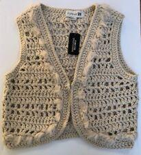 Forever 21 Boho Crochet Sweater Vest Cardigan Ivory/Beige Size Large