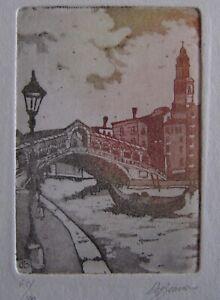 beautiful small aquatint  Venice scene signed De Bruno #61/100  Eidarte