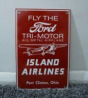 VINTAGE FORD AIRLINES PORCELAIN SIGN GAS STATION PUMP OIL MOTOR DEALERSHIP PLANE
