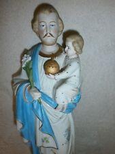 ANCIENNE STATUE RELIGIEUSE/SAINT JOSEPH JESUS/BISCUIT D'ANDENNE/debut XXé/H.39cm