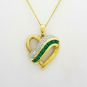 Ladies 9ct (375, 9K) Yellow Gold Created Emerald & Diamond Chip Heart Necklace