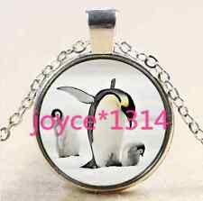 Vintage penguin Cabochon Tibetan silver Glass Chain Pendant Necklace #2523