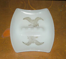 VINTAGE WHITE MILK GLASS ASHTRAY GOLD PAINTED EAGLES & SHIELDS GREAT CONDITION