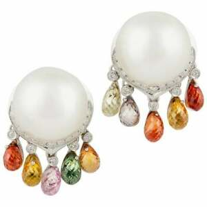 Very Large & Clear South Sea Pearls With Multi Color Sapphire & White CZ Earring