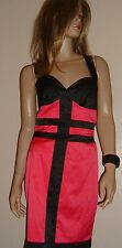 JANE NORMAN SEXY  Bodycon Dress  Blk/Pink  Satin effect uk 10 BNWT - RARE