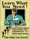 WPA Learn What You Need 1929 Vintage Poster Print Motivational Art