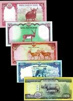 Nepal 2015-17, 5/ 10/ 20/ 50 /100 Rupees, Banknote set of 5 UNC