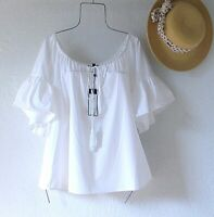 New~$148~White Peasant Blouse Shirt Cotton Ruffle Summer Boho Top~Size Large