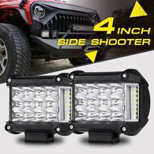 Tri-Row 4inch 95W Side Shooter CREE LED Light Bar Offroad UTV 4WD For Jeep Ford