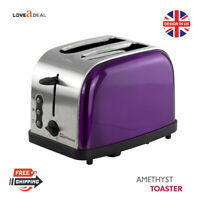 900W Stainless Steel 2 Two Slice Bread Toaster Fast Toast Reheat Defrost Purple