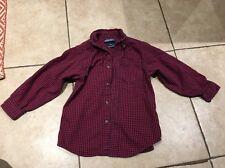 Lands End Boy's Size Medium M Button Up Plaid Shirt Red