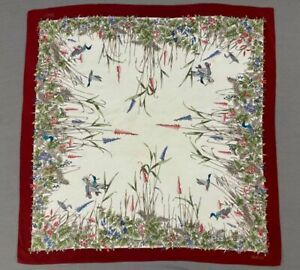 #243 Vintage 100% Silk  GUCCI Scarf Hand Rolled  Floral & Ducks 1970's - As Is