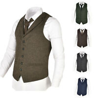 MENS WOOL BLEND HERRINGBONE TWEED LAPEL WAISTCOAT VEST GILET - ALL SIZES 4