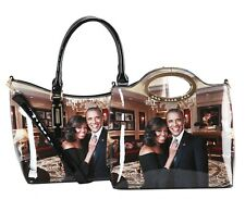 """President Barack and First Lady Michelle Obama -Twin Purse - (Blk) """"Gift Set"""""""