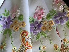 BEAUTIFUL VINTAGE LINEN HAND EMBROIDERED TABLECLOTH~ROSES/DAISIES/ANEMONES
