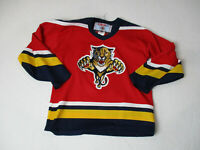 VINTAGE CCM Florida Panthers Hockey Jersey Youth Extra Large Red SEWN Kid Boys *