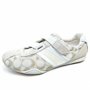 Coach Womens 8.5 Jenney Sneakers Shoes Beige Q1036 Signature Logo Low Top