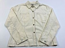 Chicos Design 100% Linen Cotton  Beige Long Sleeve Button Shirt Top Size 1
