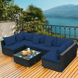 Patio Table set Conversation Set w/ Coffee Table and Navy Cushions
