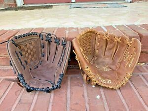 "2 Rawlings RBG36 PP120R 12.5"" softball baseball Glove Lot R-H LEATHER Nokona"