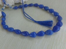 TOP EXCELLENT 467 CTS NATURAL BLUE SAPPHIRE Gemstone PEAR CARVED BEADS