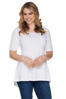 Isaac Mizrahi Scoop Neck Elbow Slv Peplum Knit Top White Sz Medium NEW A301450