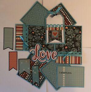 LOVE Premade Scrapbook Page Mat Set SEWN
