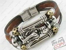 Surfer Tribal Brown Leather Bracelet Wristband Men Womens Chinese Dragon w/Clasp