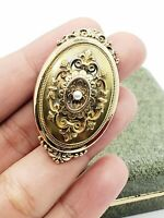 Antique Victorian Gold Gilt 925 Sterling Silver Mourning Locket Pendant Brooch