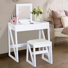 Dressing Table Set Cushioned Stool Flip-up Mirror Makeup Modern Bedroom White