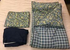 Reversible 3-Piece Twin Size Comforter Sham Skirt Set Blue Plaid Flowers GUC!