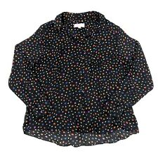 Philosophy Black Star Printed Long Sleeve Button Front Blouse Size Medium