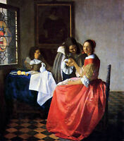 Beautiful Oil painting Johannes Vermeer - Men & The Girl with a Wine Glass 36""