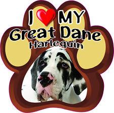 I LOVE MY GREAT DANE HARLEQUIN Cute Dog Bumper sticker PAW #191