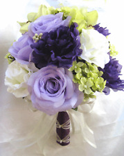 Wedding Bouquet Bridal Silk flowers PURPLE GREEN LAVENDER CREAM 17 pc package