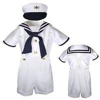 Baby Boy Toddler Formal Party Nautical Sailor Suit Outfits SZ: S M L XL2T 3T 4T