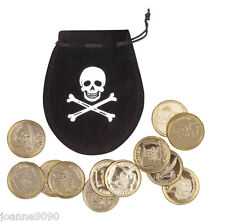 pirate butin Sac Pochette with 12 or pièces CHASSE Accessoire déguisement