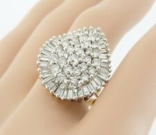 REDUCED Massive Baguette & Round 9ct Gold 3ct Diamond Cluster Ring Superb. NICE1