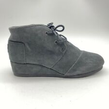 Toms Girls Ankle Boots Booties Gray Lace Up Wedge Low Heel Cap Almond Toe Y 6