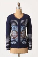 Anthropologie Sparrow Arras Blue Zip Front Cardigan Sweater